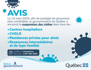 COVID-19 - Avis de suspension des visites