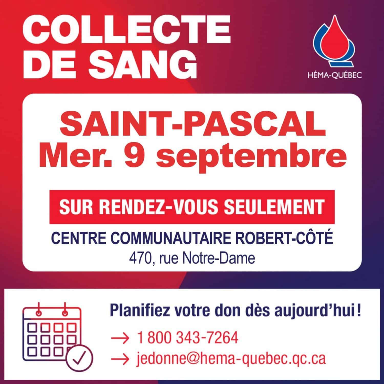 Collecte de don de sang le 9 septembre 2020, sur rendez-vous