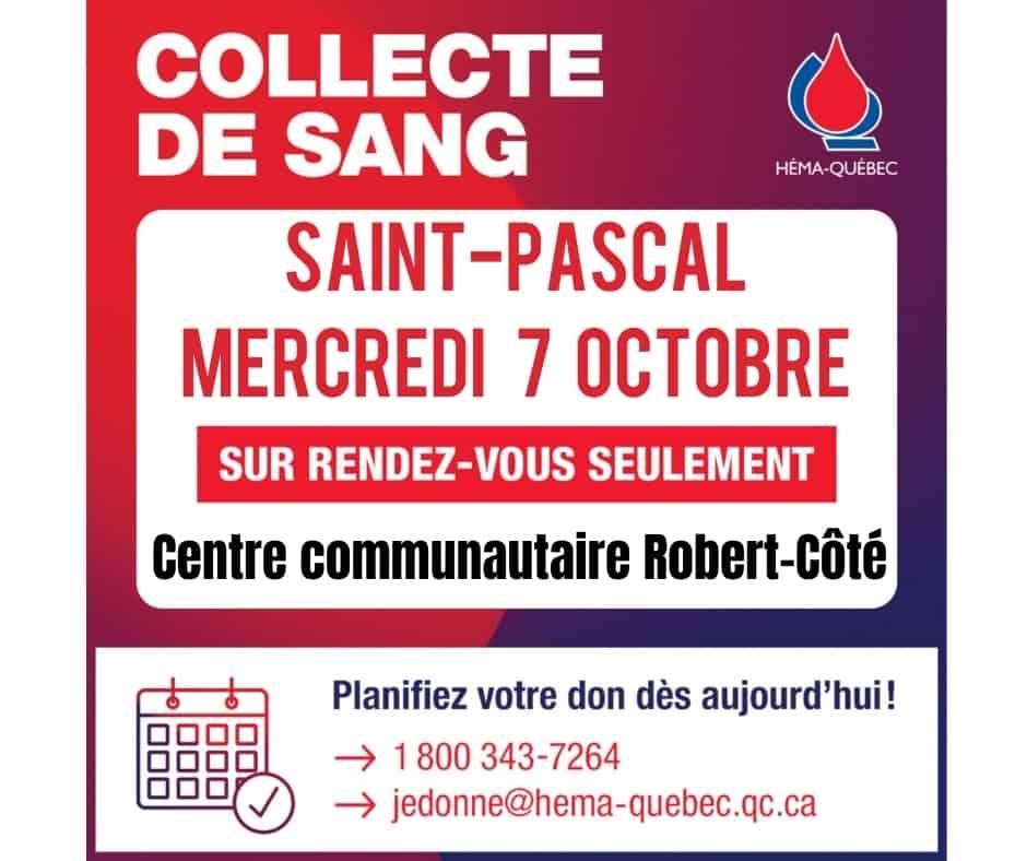 Collecte de sang le mercredi 7 ocotbre à Saint-Pascal, sur rendez-vous